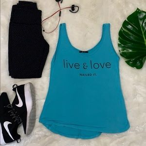 Nux yoga teal graphic tank size small